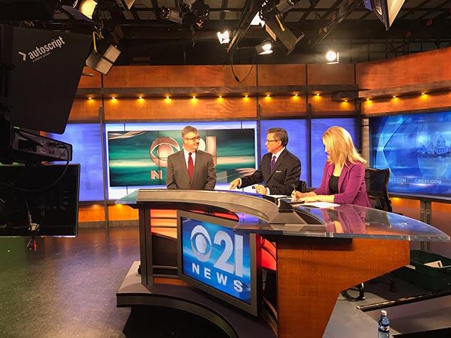 Scott Ehrig on set CBS 21 at 6